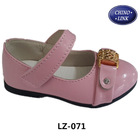 Pink color leather china girl shoes