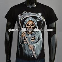 Stock Solid Cheap Men Fashion T Shirt S - XXL Skull 3D Printed Cotton Short Sleeve Mens T-Shirt Black Color