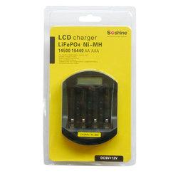 Soshine LiFePO4 14500/10440 NiMH AA/AAA LCD Quick Battery Charger(USB 5V+DC 12V) universal NI-MH aaa aa battery charger