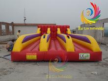 Absorbing game sport game high quality durable pvc 3 Lane Bungee Run