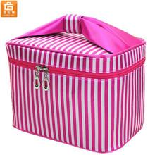 Women Folding Pink Makeup Toiletry Bag Cosmetic Storage Box