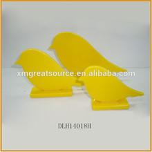 yellow color ceramic bird figurine porcelain bird