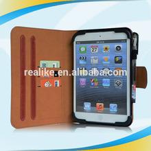 wholesale PU leather card slots rotating stand case for ipad mini, tpu corner pen loop hole case for ipad mini manufacturer