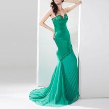 Alibaba china suppliers elastic satin crystal chiffon ruffles floor length formal party gown ebay evening dresses USA