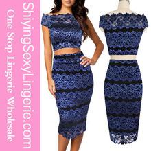 2015 venta al por mayor del cordón del Vintage Bodycon camisa corta falda lápiz superior azul real vestidos cortos