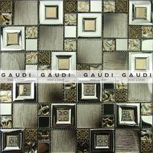 resin metal mixed mosaic tiles glass glitter