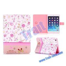 Universal Elegance Flowers Cross Texture Diamond Crystal Magnetic Flip Stand TPU+PU Leather Case for iPad Mini 3