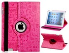 360 Degree Rotating Patterned Leather Flip Case with Stand for iPad 4 iPad3 iPad 2 (Pink)
