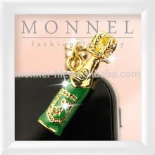 ip568-1 Monnel Custom Alloy Green Enamel 3D Wine Beer bottle Anti Dust Plug Cover Stopper Charm