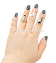 Silver black heel and mascara and scissor midi ring set