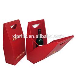 Custom paper single wine bottle bags with handle, elegant paper wine gift bag