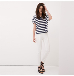 2014 korea t-shirt lady fashion lady t-shirt/stripe design el ladies t-shirt