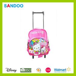 New style school bag girl trolley school bag, polyester kids school trolley bag