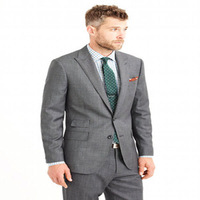 2014 High Quality Fashioned Style Woolen Frabic Two pieces Gray Custom Made Suit For Man
