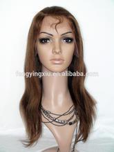 Factory price top quality 100% Brazilian human hair Yaki medium brown full lace wig
