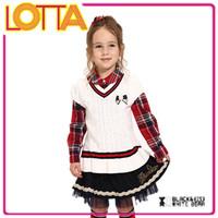 British School Look V-neck Pullover Wool Handmade Sweater Design For girl