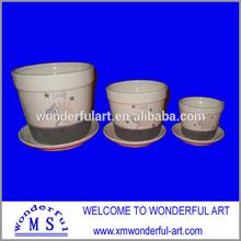 2015 new item black and white ceramic flower pot
