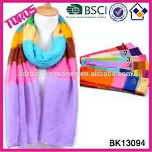 2015 Spring-season Fashion Lady Scarf Muslim Wholesale Mulit- Color Print Wrap Heather Stripe Shawl
