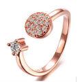 mono y ajustabla anillo con rosa plateada de oro