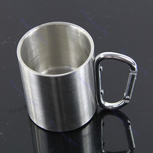 220ml stainless steel coffee cup,stainless steel travel mug, Stainless Steel Coffee Mug Camp Camping Cup Carabiner Hook