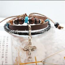 Wholesale HOT SALE high quality Cross of Christ Leather Bracelet
