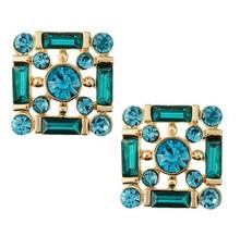 Blue Rhinestone Stud Earrings Green Beads Earring Golden Square Jewelry