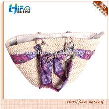 2014 Lastest style fabric application lady corn husk straw bag