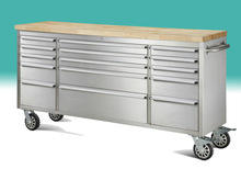 Stainless Steel 15 Drawer Rolling Tool Chest Box Cabinet WOOD TOP Toolbox Storage