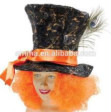 Mad Hatter Hat Orange Hair Fancy Dress Costume Tea Party Alice In Wonderland HT065