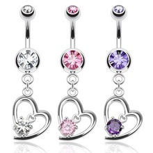316L Stainless Steel Hollow Heart with Prong Set CZ Gem Dangle Alibaba Wholesale Navel Piercing Channel