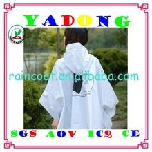 One Size Fits All Adult rain coat,Drawstring Hood,reusable pvc adult rain poncho