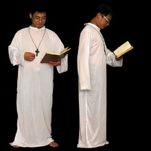 Priest Minister Church Attire Alpha Omega WHITE Stole Vestment Priest Cosplay halloween Costume FC90115