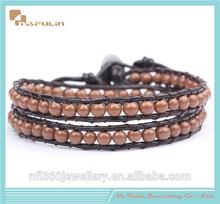 Top quality glass beads leather bracelets coffee