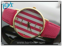 Geneva Platinum Round Ladies Stripes Leather Band Custom Promotional Watches