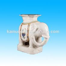 white garden ceramic elephant