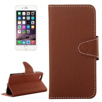 Denim Texture Horizontal Flip Magnetic Buckle Leather Case with Card Slots & Holder for iPhone 6 Plus(Brown)