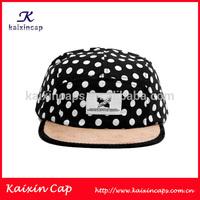 high quality polka dot printing corduroy brim designed 5 panel hat wholesale