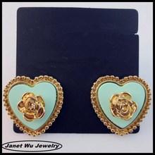 Hot wholesale 2014 zinc alloy gold plating women earrings heart rose stud earrings