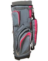 excellent color matching golf cart bag,grey and pink,all functions with many pockets