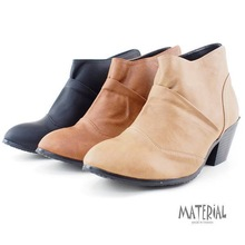 Ankle bootsAfter wrinkle boots plain V-ankle boots with chunky Ankle boots