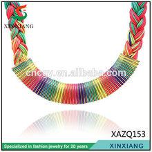 New latest Design Fashion rainbow color braid sri lankan wedding 2014 necklace