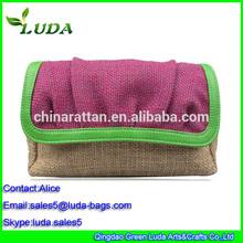 2015 Luda jute handbag small family purse jute straw wallet