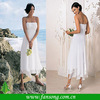 Elegant Custom made Spaghetti Strap Appliqued A-line Tea Length White Chiffon Bridesmaid Dress Patterns 2014