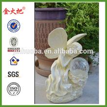 Serenity Solar Fairy Garden Sculpture Lawn Ornament, Amber LED light