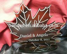 Maple Leaf Design Plexiglass Cake Topper for Wedding