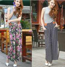D35965A 2014 summer korea new fashion printed big sizes wide leg casual women's trousers