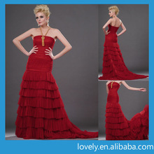 fashionable ruffle red evening wear