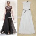 Rendas design patchwork estoque vestido maxi, tamanho livre vestido longo