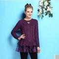 El 2014 más buena- en busca de alta- final elegante de color púrpura romántico de encaje falbalaprecio petitive de modelos para suéter de las señoras