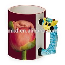 MEIKEDA 11OZ Color Rim Blank Sublimation Mug With Sheep Handle